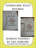 Subtraction Rules Notebook Foldable
