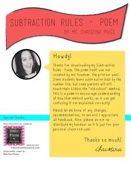 Subtraction Rules (Poem)