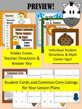Subtraction Math Center Jungle Themed Games