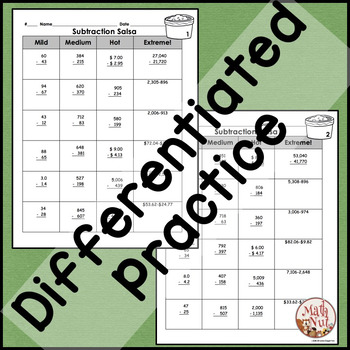 Subtraction with Regrouping Differentiated Practice