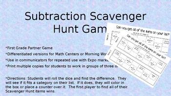 Subtraction Scavenger Hunt Partner Game