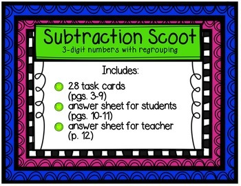 Subtraction Scoot Three-Digit Numbers with Regrouping