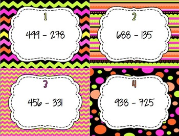 Subtraction Scoot - 3.NBT.2 , 4.NBT.4 - 3-Digit and 4-Digit Numbers