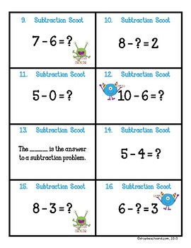 Subtraction Scoot Game