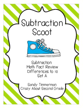 Subtraction Scoot Math Game Differences to 10 Sets A and B