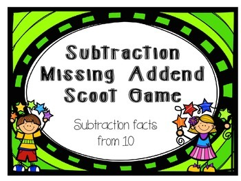 Subtraction Scoot Missing Addend  from 10