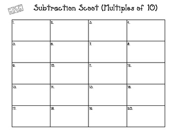 Subtraction Scoot (Multiples of 10)