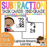 Subtraction Scoot or Task Cards - Solve, Flip & Check