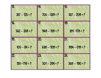 Subtraction Scoot: subtraction practice as a scoot activity