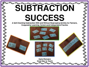Subtraction Self Checking Task Cards
