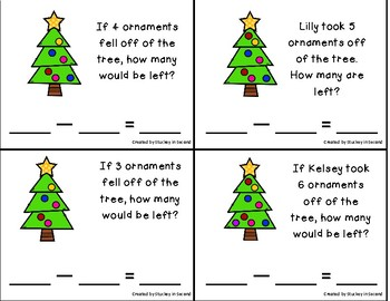 Subtraction Sentence Center: Building Equations {Christmas Edition}