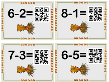 Thanksgiving Subtraction Sentence Task Cards with QR Scan Codes
