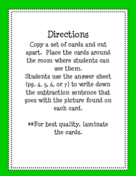 Subtraction Sentence Write the Room/Task Cards