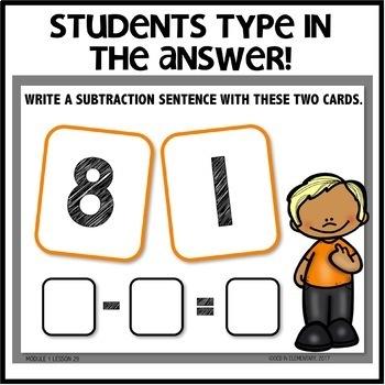 Subtraction Sentences BOOM CARDS   Module 1 Lesson 29