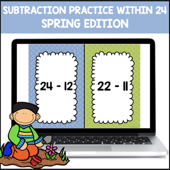 Subtraction Facts 0-12 within 24 (Spring Edition)