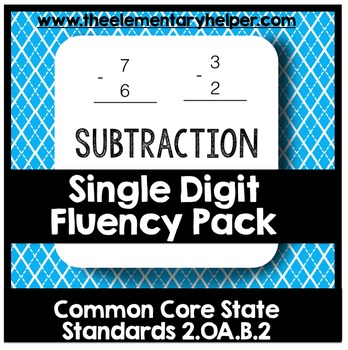 Subtraction Single Digit Fluency Pack: Second Grade