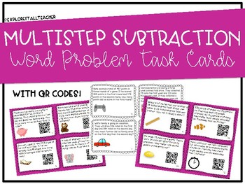 Subtraction Single- and Multi-Step Word Problem Task Cards