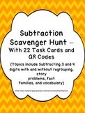 Subtraction Skills Scavenger Hunt - 22 Task Cards with QR Codes