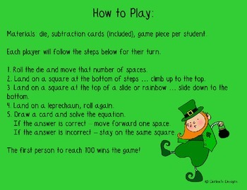 Saint Patricks Day Subtraction Slides and Steps Game