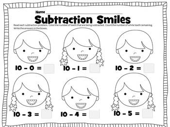 Subtraction Smiles (A Dental Health Themed Math Center Activity) K-2