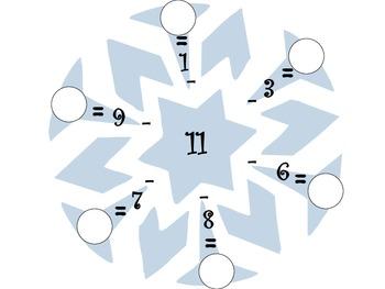 Subtraction Snowflakes