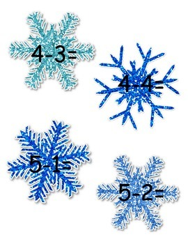 Subtraction Snowflakes Cake Walk Style Subtract the Room within 10