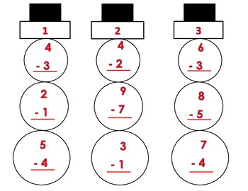 Build a Subtraction Snowman Math Center Activity