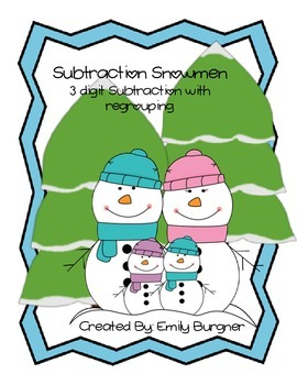 Subtraction Snowmen- 3 Digit Subtraction with Regrouping Center