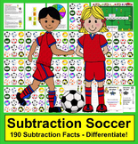 Subtraction Soccer Math Games:  Differentiate with 190 Facts! 3 Ways to Play!