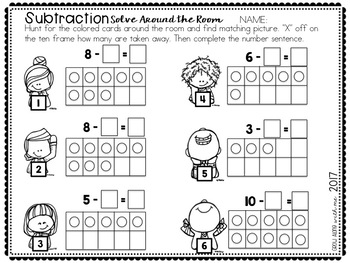 Subtraction: Solve Around the Room