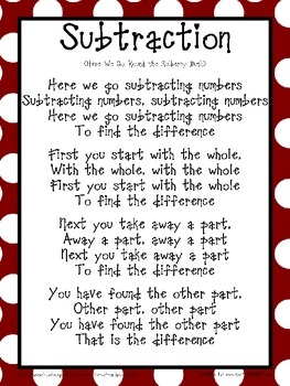 Subtraction Song and Chart