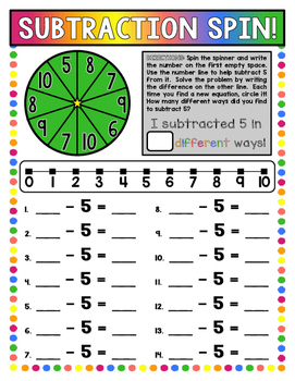 Subtraction Spin: 21 Print-and-Go Boards (Subtraction within 10)
