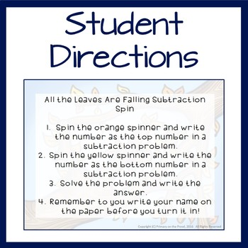 Subtraction Spinner featuring 2 digit subtraction without regrouping
