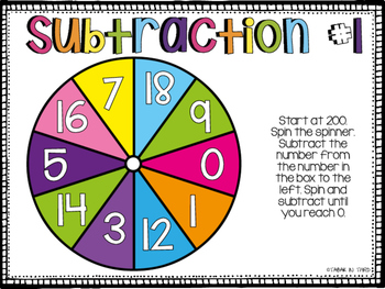 Subtraction Spinners