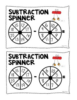 Subtraction Spinners Math Center