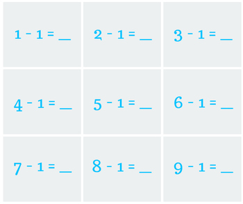 Subtraction Squares 1s