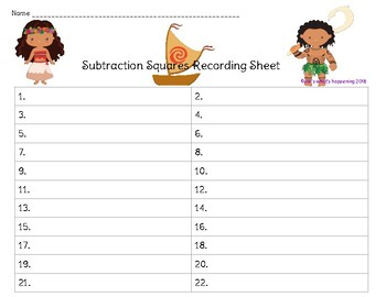 Subtraction Squares - Subtract 1 - 20 - Moana