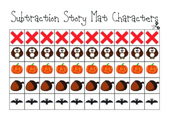 Subtraction Story Mats Math Workstation (Fall Theme)