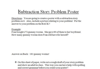 Subtraction Story Problem Poster