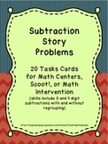 Subtraction Story Problems - 20 Task Cards for Math Centers