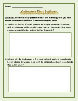 Subtraction Story Problems (Aligned with Common Core)
