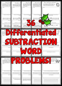Christmas Word Problems (Subtraction Word Problems - Differentiated)