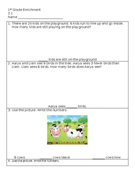 Subtraction Story Problems - Go Math 2.1 First Grade Enrichment