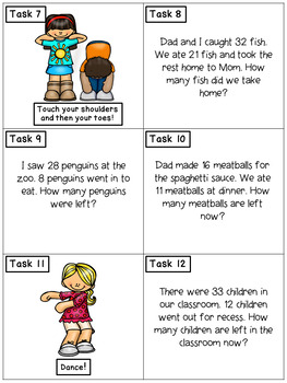 Subtraction Story Problems No Regrouping: Math Task Cards - Exercise Scoot!