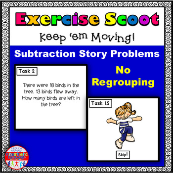 Subtraction Story Problems No Regrouping: Math Task Cards