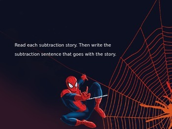 Subtraction Story Problems PowerPoint : Spiderman Theme