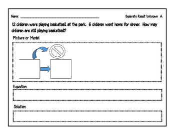 Subtraction Story Problems -Separate- Result Unknown