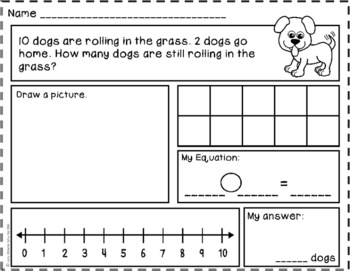 Subtraction Story Problems: Take From - Result Unknown to 10 {Basic Subtraction}