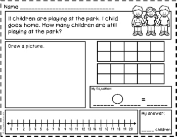 Subtraction Story Problems: Take From - Result Unknown to 20 {Basic Subtraction}