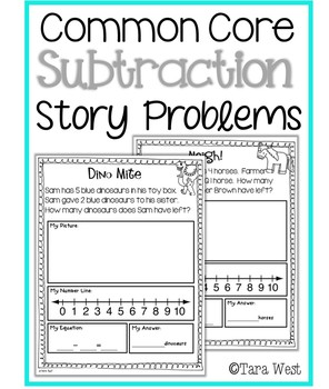 Subtraction Story Problems aligned to Common Core by Tara West | TpT